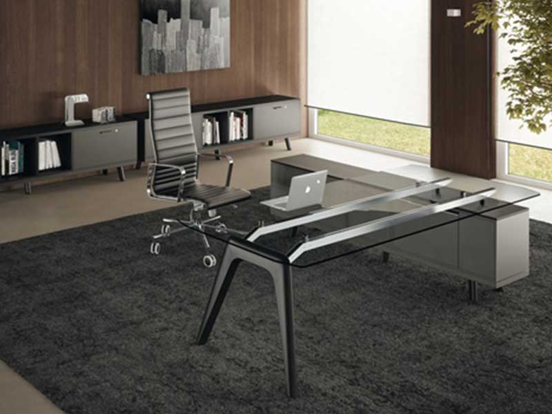 bureaux de direction verre rail i. Black Bedroom Furniture Sets. Home Design Ideas